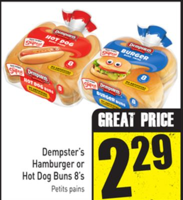 Dempster's Hamburger or Hot Dog Buns 8's