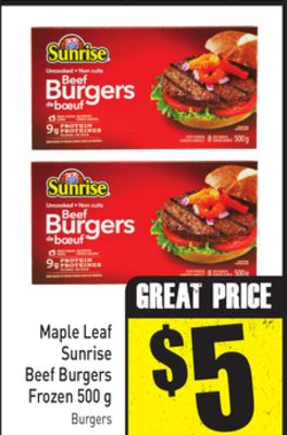 Maple Leaf Sunrise Beef Burgers Frozen 500 g