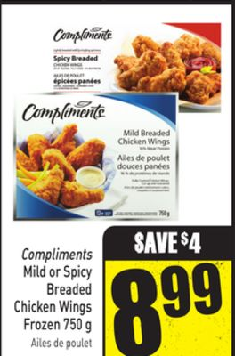 Compliments Mild or Spicy Breaded Chicken Wings Frozen 750 g