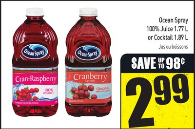 Ocean Spray 100% Juice 1.77 L or Cocktail 1.89 L