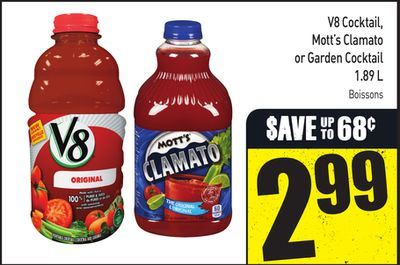 V8 Cocktail - Mott's Clamato or Garden Cocktail 1.89 L