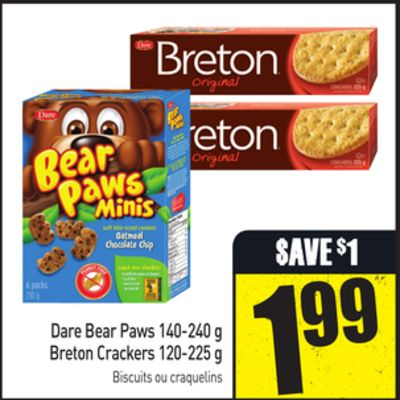 Dare Bear Paws 140-240 g Breton Crackers 120-225 g