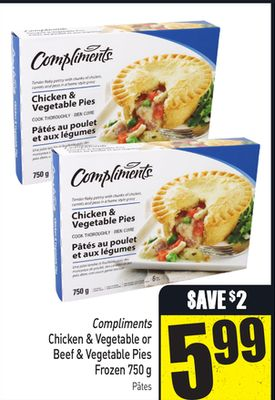Compliments Chicken & Vegetable or Beef & Vegetable Pies Frozen 750 g