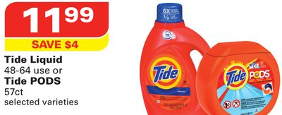 Tide Liquid 48-64 Use or Tide PODS 57ct