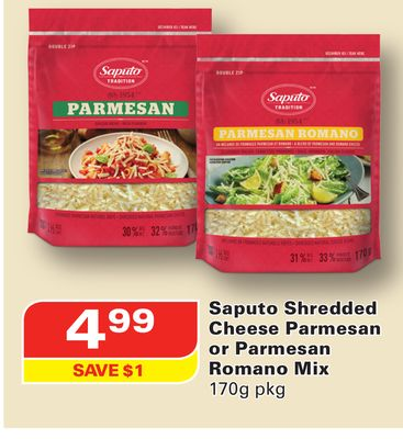 Saputo Shredded Cheese Parmesan or Parmesan Romano Mix