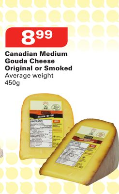 Canadian Medium Gouda Cheese Original or Smoked