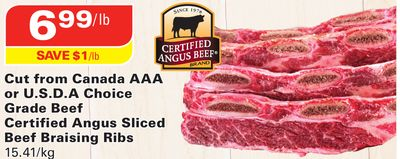 Cut From Canada Aaa or U.s.d.a Choice Grade Beef Certified Angus Sliced Beef Braising Ribs