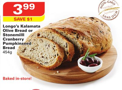 Longo's Kalamata Olive Bread or Stonemilll Cranberry Pumpkinseed Bread