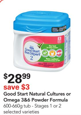 Nestlé Good Start Natural Cultures or Omega 3&6 Powder Formula