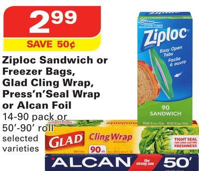 Ziploc Sandwich or Freezer Bags - Glad Cling Wrap - Press'n'seal Wrap or Alcan Foil