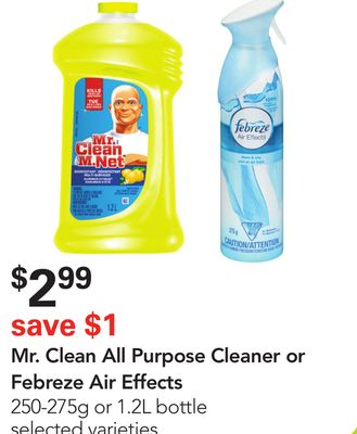 Mr. Clean All Purpose Cleaner or Febreze Air Effects