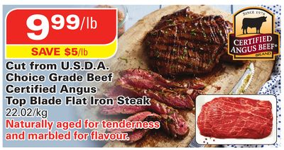 Certified Angus Beef Cut From U.s.d.a. Choice Grade Beef Certified Angus Top Blade Flat Iron Steak