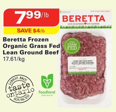 Beretta Frozen Organic Grass Fed Lean Ground Beef