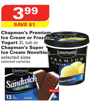 Chapman's Premium Ice Cream or Frozen Yogurt 2l Tub or Chapman's Super Ice Cream Novelties