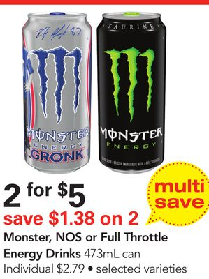 Monster - Nos or Full Throttle Energy Drinks