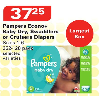 Pampers Econo+ Baby Dry - Swaddlers or Cruisers Diapers