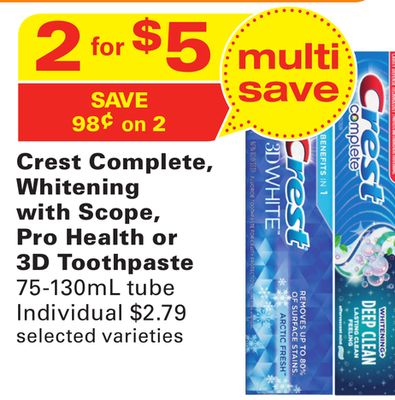 Crest Complete - Whitening With Scope - Pro Health or 3D Toothpaste