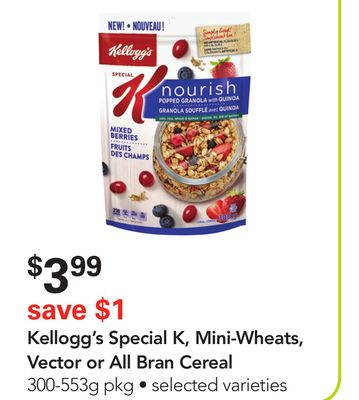 Kellogg's Special K - Mini-wheats - Vector or All Bran Cereal