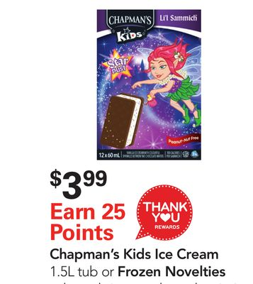 Chapman's Kids Ice Cream 1.5l Tub or Frozen Novelties Selected Sizes