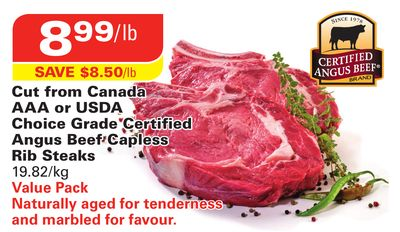 Certified Angus Beef Cut From Canada Aaa or Usda Choice Grade Certified Angus Beef Capless Rib Steaks