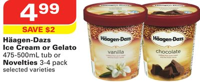 Häagen-dazs Ice Cream or Gelato 475-500ml Tub or Novelties 3-4 Pack