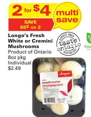 Longo's Fresh White or Cremini Mushrooms