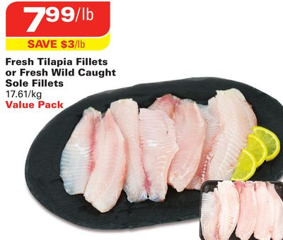 Fresh Tilapia Fillets or Fresh Wild Caught Sole Fillets