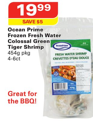 Ocean Prime Frozen Fresh Water Colossal Green Tiger Shrimp