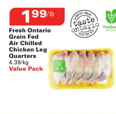 Fresh Ontario Grain Fed Air Chilled Chicken Leg Quarters