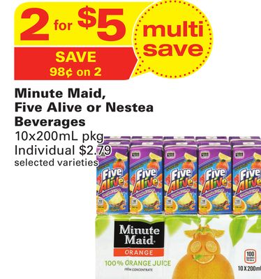 Minute Maid - Five Alive or Nestea Beverages