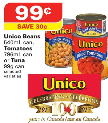 Unico Beans 540ml Can - Tomatoes 796ml Can or Tuna 99g Can