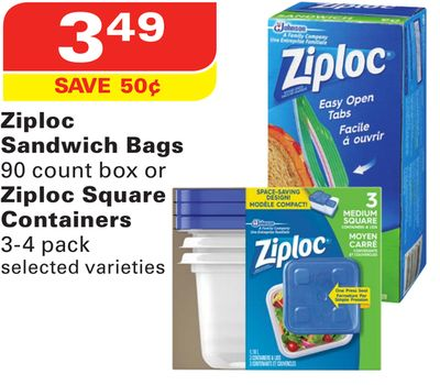Ziploc Sandwich Bags 90 Count Box or Ziploc Square Containers 3-4 Pack