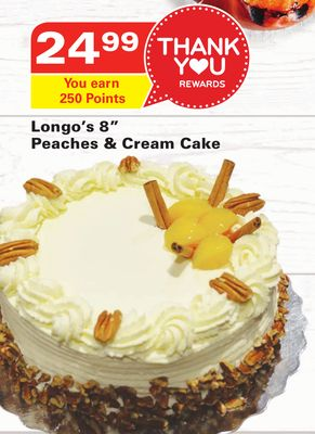 Longo's 8'' Peaches & Cream Cake