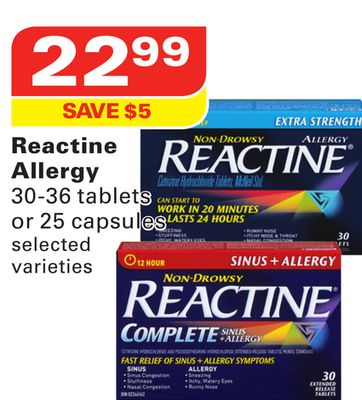Reactine Allergy 30-36 Tablets or 25 Capsules