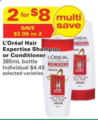 L'oréal Hair Expertise Shampoo or Conditioner