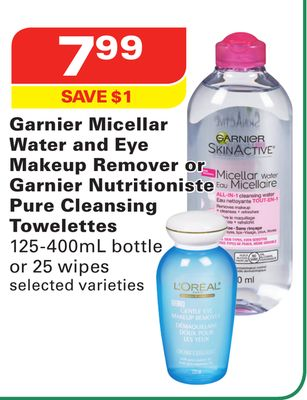 Garnier Micellar Water and Eye Makeup Remover or Garnier Nutritioniste Pure Cleansing Towelettes