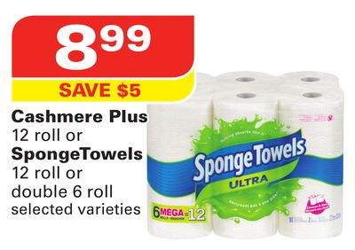 Cashmere Plus 12 Roll or Spongetowels 12 Roll or Double 6 Roll