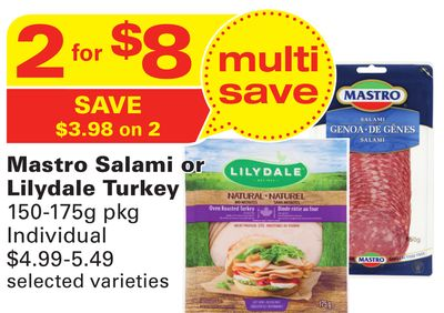 Mastro Salami or Lilydale Turkey