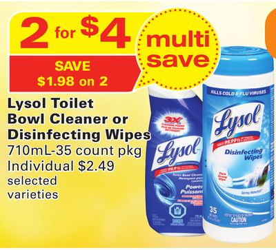 Lysol Toilet Bowl Cleaner or Disinfecting Wipes
