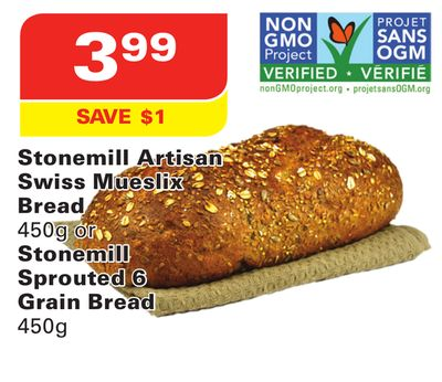 Stonemill Artisan Swiss Mueslix Bread 450g or Stonemill Sprouted 6 Grain Bread 450g