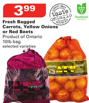 Fresh Bagged Carrots - Yellow Onions or Red Beets