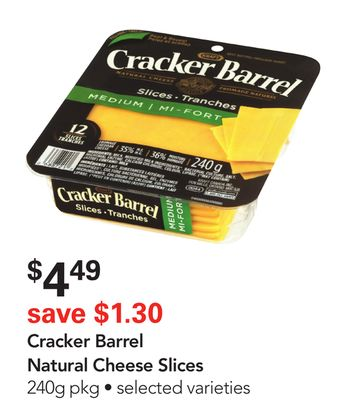 Kraft Cracker Barrel Natural Cheese Slices
