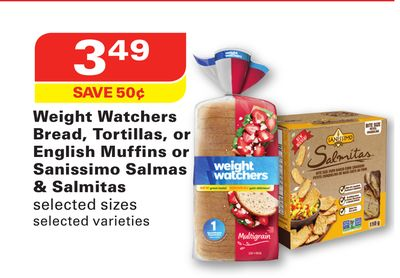 Weight Watchers Bread - Tortillas - or English Muffins or Sanissimo Salmas & Salmitas