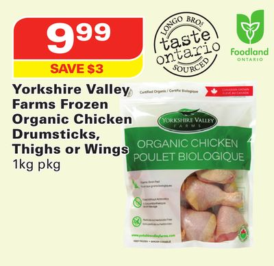 Yorkshire Valley Farms Frozen Organic Chicken Drumsticks - Thighs or Wings