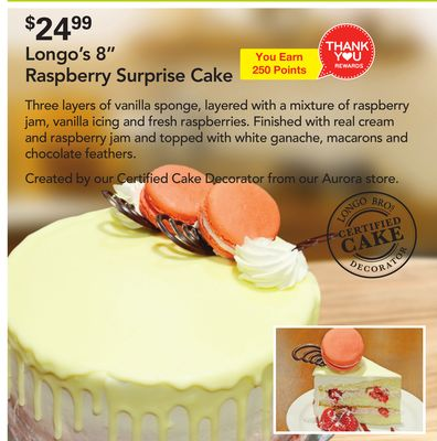 Longo's 8'' Raspberry Surprise Cake