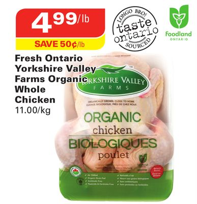 Fresh Ontario Yorkshire Valley Farms Organic Whole Chicken