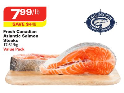 True North Seafood Company Fresh Canadian Atlantic Salmon Steaks