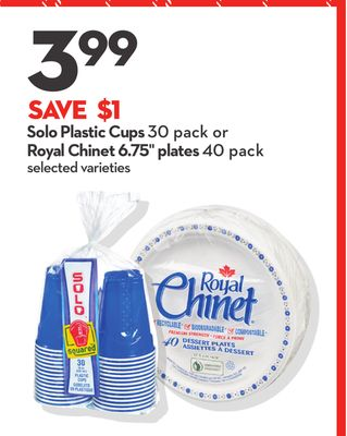 Solo Plastic Cups 30 Pack or Royal Chinet 6.75'' Plates 40 Pack