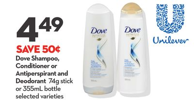 Dove Shampoo - Conditioner or Antiperspirant and Deodorant