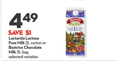 Lactantia Lactose Free Milk 2l Carton or Beatrice Chocolate Milk 3l Bag